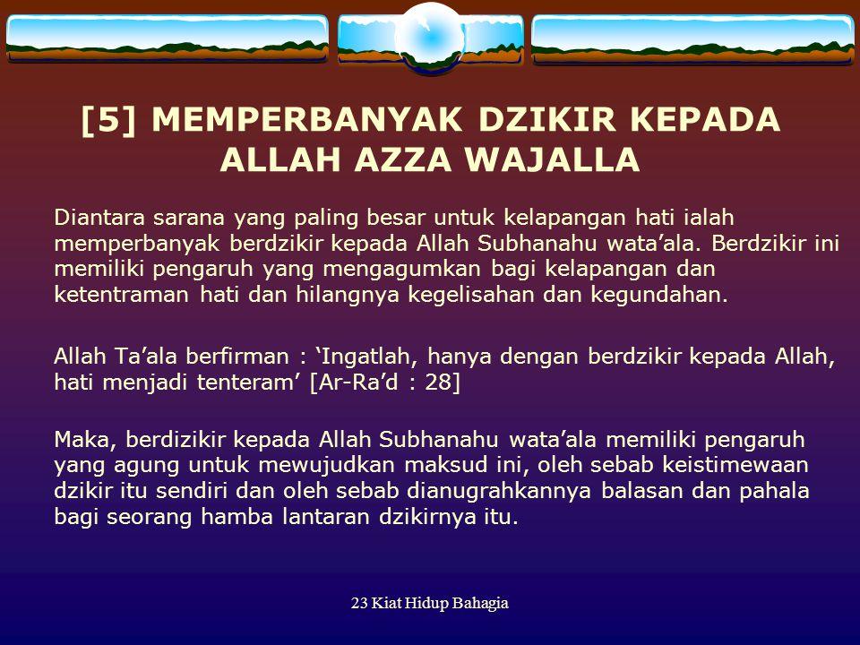 [5] MEMPERBANYAK DZIKIR KEPADA ALLAH AZZA WAJALLA